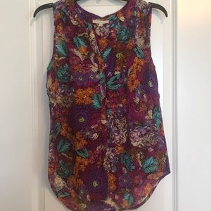 Sleeveless Silky Floral Top